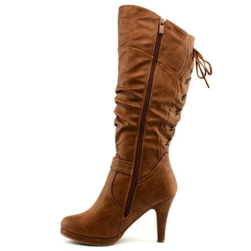 Premier High Boots Up Toe Top Tan Lace Moda Heel 65 High Round Knee Womens Page Slouched w6PxOpS