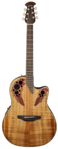 Ovation CE44P-FKOA Celebrity Elite Plus Mid-Depth Cutaway Acoustic-Electric Guitar Bundle with Instrument Cable, Strings, Strap, Tuner, Stringwinder, Capo, Instructional DVD, Picks, and Polishing Cloth - Figured Koa