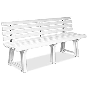 Deuba Garden Bench Outdoor 3 Seater Patio Terrace Furniture Weatherproof Durable Plastic Seat White