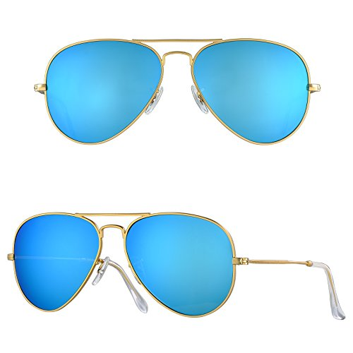 f58e60617a21 BNUS Corning natural glass lens New Pilot Sunglasses for women men Italy  made with Polarized Choices (Frame  Matte Gold Lens  Blue Flash
