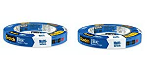 """3M Scotch-Blue 2090 Safe-Release Crepe Paper Multi-Surfaces Painters Masking Tape, 27 lbs/in Tensile Strength, 60 yds Length x 3/4"""" Width, Blue (Pack of 2)"""