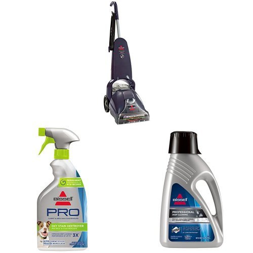 BISSELL PowerLifter PowerBrush Upright Carpet Cleaner and Shampooer, 1622 with Oxy Stain Destroyer Pet Plus Pretreat and 78H6B Deep Clean Pro 2X Deep Cleaning Concentrated Carpet Shampoo, 48 ounces by Bissell