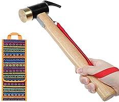 WEINAS ペグハンマー 真鍮 ヘッド 丈夫 耐久性良い 使いやすい ハンマー 木製 ハンドル 収納袋付き キャンプ アウトドア 大工 工事 日常作業