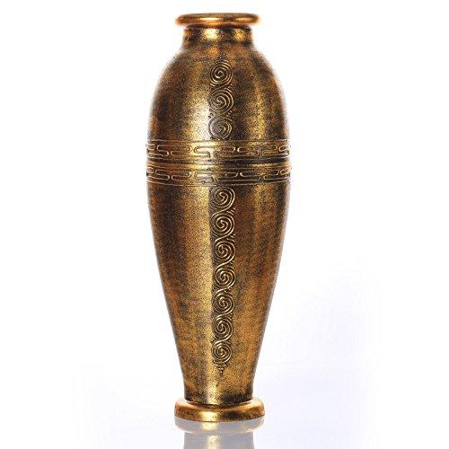 PoliVaz DV-ANT-LL-M-GOLD Antique Gold Floor Vase, (Greek Key Vase)