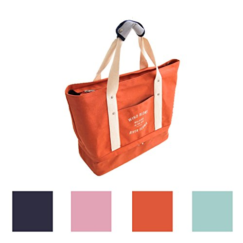 Queenie - 1 Pc Women's Medium Size Casual Cotton Canvas Tote Bag Shopping Bag Lady Handbag Shoulder Bag Beach Bag (Model No : 587 Orange) -