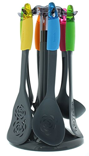 6 Piece Non Stick Cooking and Serving Utensils Set - Pasta Server Ladle Spoon Skimmer and Stand /