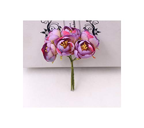 FASHION-Ubiquity 6Pcs Artificial Flowers Mini Tea Rose Bud for Wedding Home Decoration Jewelry Accessories Fleurs Scrapbooking DIY Craft Supplies,Purple from FASHION-Ubiquity