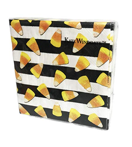 Candy Corn on Stripes 40 Pack 3 Ply Novelty Halloween Paper Cocktail Beverage Drink Party Napkins