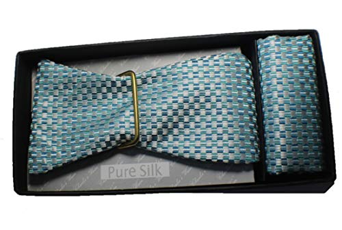 Mario Zegna Mens Self Teal and Blue Bowtie for Formal for sale  Delivered anywhere in USA