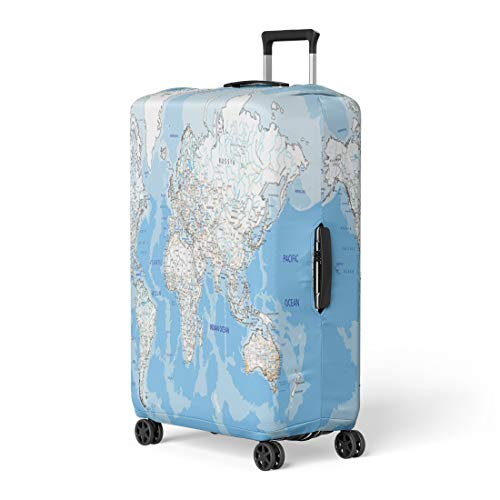 - Semtomn Luggage Cover Outline High Detailed World Road Map Labeling White Europe Travel Suitcase Cover Protector Baggage Case Fits 26-28 Inch