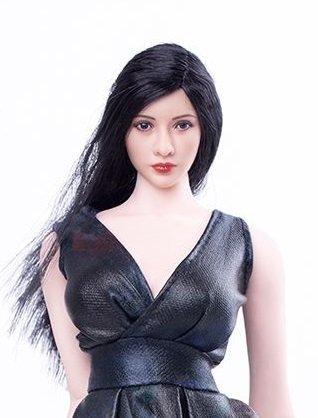 1 / 6 PVC figure for accessories, female Asian women, head (black long hair)