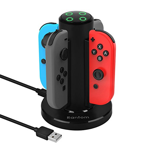 Joy-con charger,Rantom USB charging dock for joy-con,Nintendo switch controller charger 4 in 1 portable charging with 4 LED indicators and USB power (Nes Controller Max)