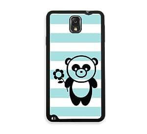 Be A Panda Aqua Stripes Cute Hipster Samsung Galaxy Note 3 Note III Case - Fits Samsung Galaxy Note 3 Note III