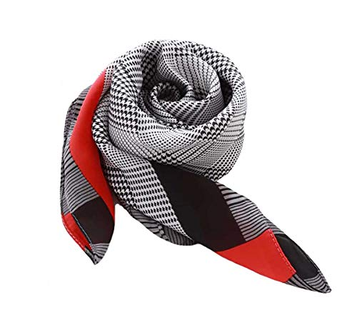 Silk Scarf Square Satin Headscarf Women's Fashion Scarfs Neckerchief Neck Tie (C)