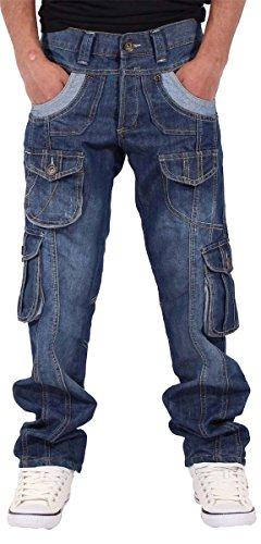 Peviani Herren/Jungen Cargo-Jeans Star Zeit ist Geld Hip Hop, dunkelblau