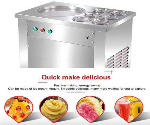 ECO-WORTHY Fried ice cream roll machine 110V 1200W Commercial Instant Ice Cream Maker Stainless Steel for Restaurant Snack Bar ()