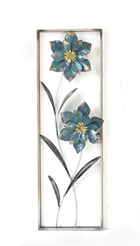 New All American Collection Flower and Leaves Aluminum/Metal Wall Decor with Frame 12