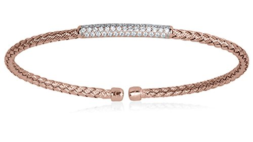 - SilverLuxe Sterling Silver 18KT Rose Gold Plated Weave Cuff Bracelet with CZ Bar
