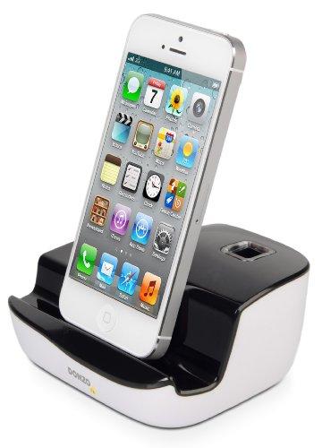 DONZO DELUXE USB Dockingstation / Ladestation für Apple iPhone 5 / 5C / 5S / 6 / 6S / 6 Plus / 6S Plus / iPad 4 / iPad Air / iPad Air 2 / iPad mini / iPad mini 2 / iPad mini 3 / iPod Touch 5G / iPod Nano 7G + USB Datenkabel + Ladegerät Netzteil - schwarz / weiß