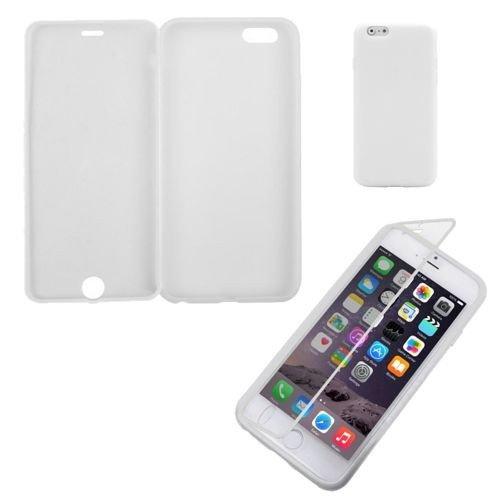 TPU / pelle con la protezione dello schermo per Apple iPhone 6 bianco trasparente