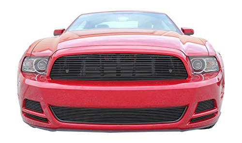 USA Made! Fits 2013-2014 Ford Mustang V6 6PC Gloss Black Replacement Billet Grille Combo Kit