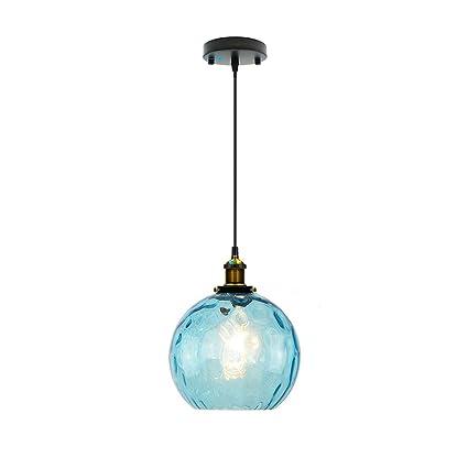 Wings of wind - Iluminación de Techo Moderna Diseño Industrial E27 Lámpara de Cristal Sombra Iluminación de Techo Azul (20cm)