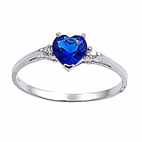 Jacinda: Heart-cut Simulated Blue Sapphire and IOF CZ Promise Friendship Ring Silver, 3144 sz
