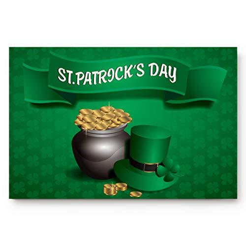 Advancey St. Patrick's Day Leprechaun Hat Gold Coin 18 x 30inch Doormat Water Absorbent Non-Slip Entrance Shoes Scraper Rug Indoor Kitchen Dining Living Hallway Bathroom Pet -