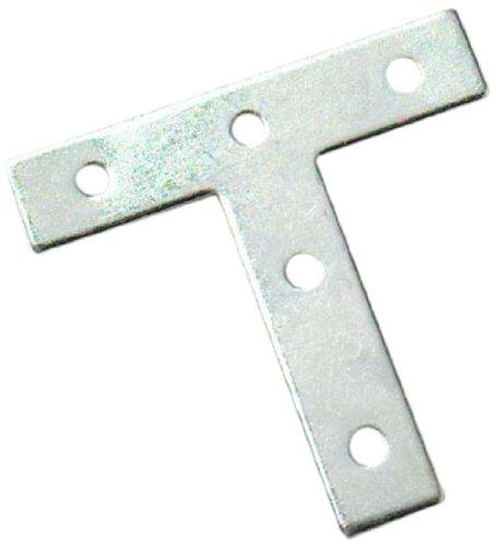 Bianco per Riparazioni Bulk Hardware BH01193 Squadrette Piatte a T in Metallo Zincato 100 mm Set di 8 Pezzi