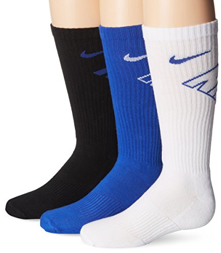 - New Nike 3 Pack Boys Graphic Crew,Black (SX4715-942) / White/Blue,Medium (Youth Shoe Size 5Y-7Y)