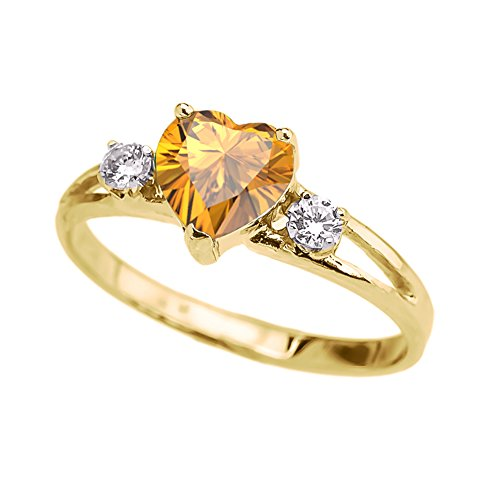 (Precious 10k Yellow Gold November Birthstone Heart Proposal/Promise Ring with White Topaz (Size 7.25))