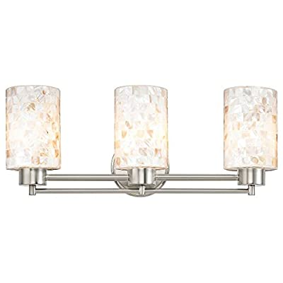 """Bathroom Wall Mounted Light with Mosaic Glass in Satin Nickel Finish - DIMENSIONS: 7.75""""h x 20""""l x 5.62""""d FINISH: Satin Nickel PLEASE NOTE: Light bulb(s) not included with this light fixture. - bathroom-lights, bathroom-fixtures-hardware, bathroom - 41z5MXzXQQL. SS400  -"""