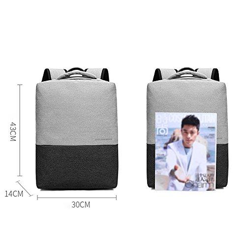 Business Aktentasche Notebook Computer Rucksack mit USB Ladeanschluss Laptop Backpacks Rucksäcke, Damen Männer Jungen Schultaschen Daypacks Uni Schule Wandern Reise Taschen (Grau + Schwarz) Grau + Schwarz