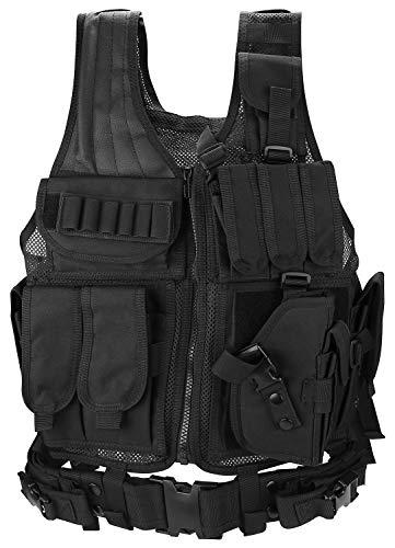ProCase Gilet Tactique Militaire Mesh, Veste de Combat avec Ceinture pour Airsoft Jeu CS Militaire-Noir 1