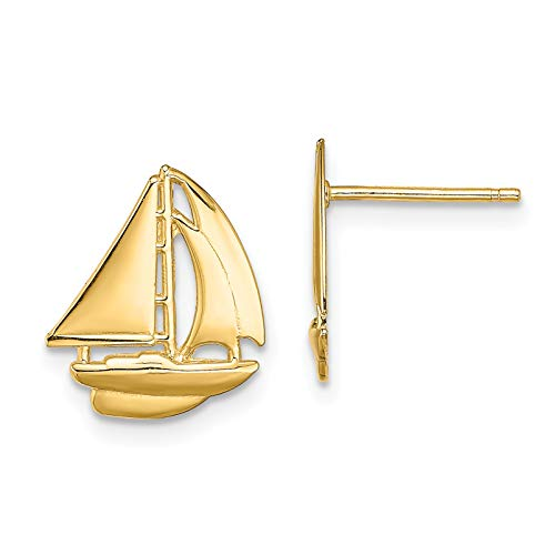 14k Polished Yellow Gold Cutter Sailboat Post Earrings