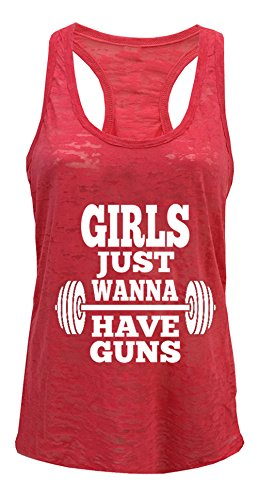 Tough Cookie's Women's Girls Just Wanna Have Guns Workout Burnout Tank Top (Large, Coral)