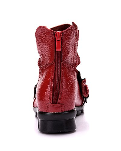 Mrs Duberess Women's Comfortable Round Topline With Unique Flower Handmade Leather Boot For Winter or Fall Red qXbgdetis