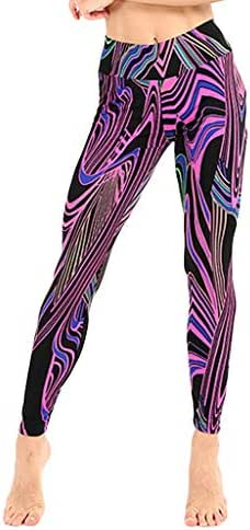 LUXISDE Yoga Pants for Women Colorful Line Printing Exercise Fitness Running Body-Fitness Yoga Pants