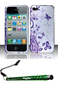 FoxyCase(TM) FREE stylus AND For iPhone 4 4s (AT&T Verizon Sprint) Rubberized Design Case Cover Protector - J5 Desire Safe Phone cas couverture