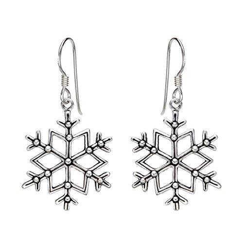EleQueen 925 Sterling Silver Vintage Inspired Winter Snowflake Hook Drop Earrings (Snowflake Earrings Winter)
