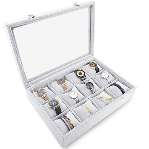 Tasybox Grey Velvet Watches Organizer 12 Grid Watch Holder Jewelry Storage Box Display Case for Men and Women