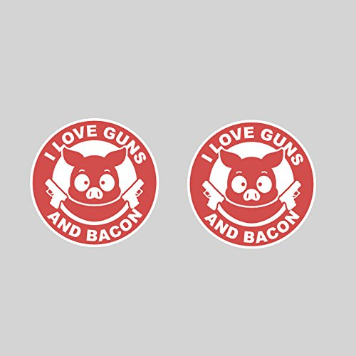 Two Pack I Love Guns and Bacon Stickers FA Graphix Vinyl Decal - 2 Pack Bacon