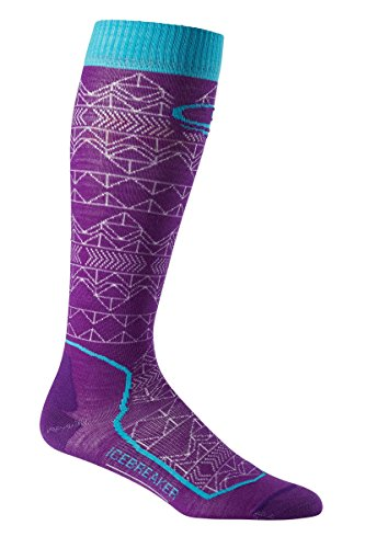 Icebreaker Women's Ski+ Ultra Light Cushion OTC Mountain Icon Socks, Emperor/White/Aquamarine, Medium