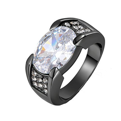Huanhuan Jewelry Black Gold Plated White Sapphire Vintage and Fashion Comfort Fit Wedding Band Rings for Mens Size 10 with Classic Cubic Zirconia