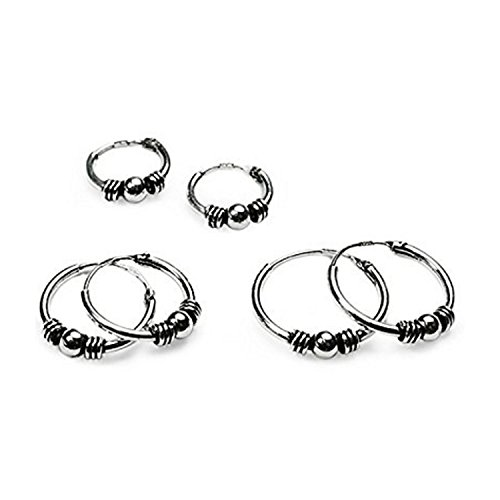 Silverline Jewelry Sterling Silver Small Bali Endless Hoop Earrings for Cartilage/Nose/Lips, 10mm, 12mm & 14mm, - Hoop Endless Earrings Bali