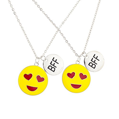 Silver Tone Enamel Heart Eyes Emoji BFF Necklace Set