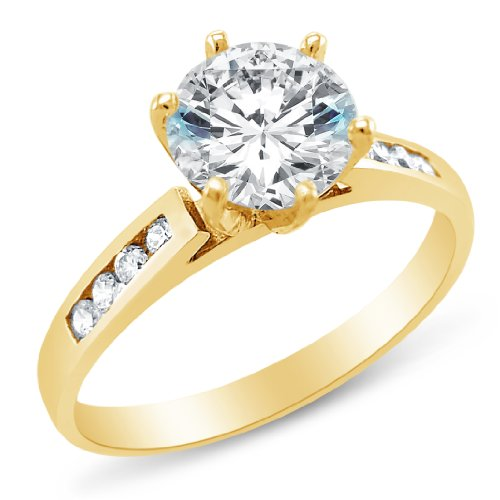 Size 8 - Solid 14k Yellow Gold Classic Traditional Round Brilliant Cut Solitaire Highest Quality CZ Cubic Zirconia Engagement Ring (Yellow Gold Created Moissanite Solitaire)
