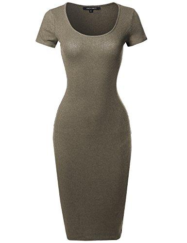 Lurex Sans Manches Décontractée Cou Sexy Haut Des Femmes Awesome21 Corps Con Mini Robe Aawdrs0004 Olive
