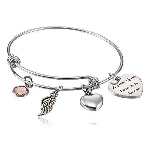 FLODANCER Cremation Urn Bracelet,A Piece My Heart is in Heaven,Cremation Memorial Jewelry Ashes,Sympathy Jewelry bracelet angle wing charm - Cremation Memorial