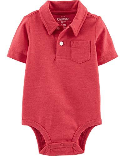 Osh Kosh Baby Boys Polo Bodysuit, Sundried Red, 12 Months